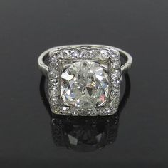 narae213   N 47th DIAMOND DISTRICT Antique 2.95ct Old Mine Cut Diamond Platinum Engagement Ring