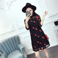casual Long sleeved grenadine dress