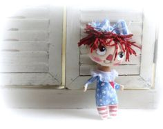 Primitive Raggedy Anne hand painted cloth doll by suziehayward