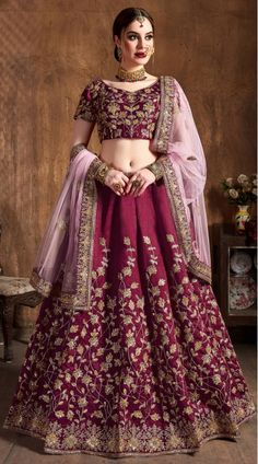 This Maroon Raw Silk Lehenga Choli has embroidery patch work. Dori, Badla And Sequins Embroidery can be customized up to size 42 only. Soft net dupatta comes with lehenga choli. Lehenga Choli Designs, Ghagra Choli, Bridal Lehenga Choli, Sabyasachi Lehengas, Bridal Lehenga Online, Lehenga Choli Online, Salwar Kameez, Navy Blue Lehenga, Costumes Anarkali