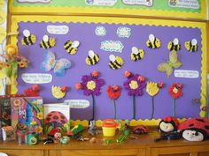 Flower Garden Bulletin Board idea - Love the 3 D bees! Use one large and one small oval and glue tissue paper on top of the large one. Add wiggly eyes and glue the white small oval on top. Very simple and cute. School Displays, Classroom Displays, Classroom Themes, Biology Classroom, Spring Bulletin Boards, Preschool Bulletin Boards, Class Decoration, School Decorations, Bee Theme