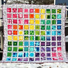 Day 3 of #sewphotohop : Color. This is my @tulapink City Sampler quilt. I like to run sewing events on my blog and I ran a sew along on my blog for this book back in 2013. Many people sewing along also made beautiful quilts. This quilt is comprised of 100 blocks. The blocks all call for straight cuts (no curves or templates) making the blocks accessible for all skill levels. I particularly enjoy making quilts in solids. The background is a texty newsprint fabric. This is one of my favorite…