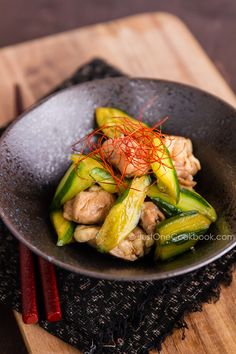 Cucumber and Chicken Marinated in Chili Oil from @Nami Kim | Just One Cookbook