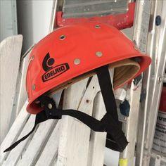 Orange climbing helmet, mountainmen