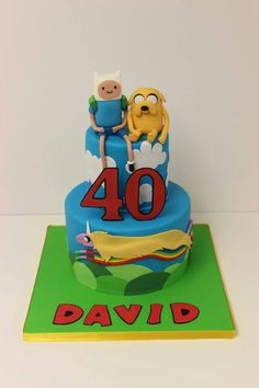 David is too cool! Adventure Time Birthday, Adventure Time Cakes, Adventure Time Parties, Teen Cakes, Cakes For Boys, Fondant, Poppy Cake, 2 Birthday Cake, Party Activities