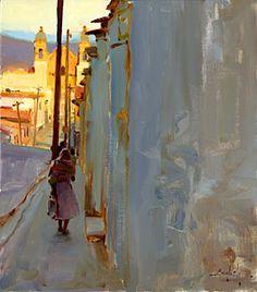 "huariqueje: "" Sunday Morning, Oaxaca - Kim English American, oil on panel, 16 x "" Kim English, Urban Landscape, Landscape Art, Landscape Paintings, Pintura Exterior, English Artists, Southwest Art, Paintings I Love, Magazine Art"