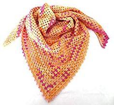 Schal für Damen gehäkelt - orange pink - Handgemachte Sachen Orange, Pink, Handmade, Fashion, Nice Things, Cotton, Patterns, Women's, Moda