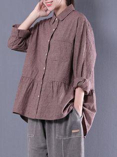 Plus Size Vintage Women Plaid Cotton Blouse Collar Shirts, Shirt Blouses, Look Fashion, Fashion Outfits, Fashion Blouses, Diy Clothes, Clothes For Women, Plus Size Vintage, Kurta Designs