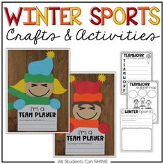 "Your students are going to love making these fun winter sports crafts! This craftivity is a perfect way to teach kids about working together. This will help you in the long run, with centers and group work activities for all subjects! Here are the printables that are included in this pack: - acrostic poem - 2 bubble maps - ""My Teamwork Mini Book"" - available with both primary and secondary lines - Writing Prompts: ""I Am A Team Player"", ""My Team ROC..."