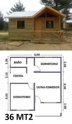 Hut House, Tiny House Cabin, Small House Plans, Cottage Floor Plans, Cabin Floor Plans, Bungalow Haus Design, Casas Containers, Bamboo House, Pallet House