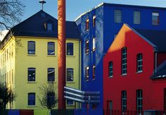 The colorful buildings of the   Faber-Castell production site in Geroldsgrün, Germany.