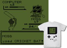 Moss from The IT Crowd is summoned to battle pokemon with his cricket bat – made to resemble an old school Nintendo Game Boy – buy this perfect mash-up for your favorite anime geek, video gamer, or British comedy fan (even if it's you)