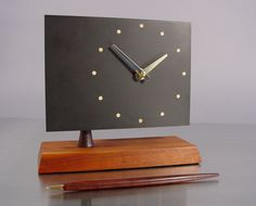 Mid Century Desk Clock, Slate And Walnut By Harpswell House. Att To Paul Evans