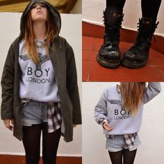 Boy London Sweatshirt, Lumberjacket Shirt, Levi's® Vintage Shorts, Green Parka, Dr. Martens Doc's, Gold Chain - Ever fallen in love (with so...