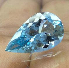 5.6 Cts 17.3x10.5 mm Natural Unheated Top Grade Pear Shape Faceted Aquamarine #Unbranded