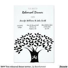 B&W Tree rehearsal dinner invitations