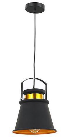 Tesco direct: Industrial Designed Matt Black Pendant Light with Burnt Gold Inner