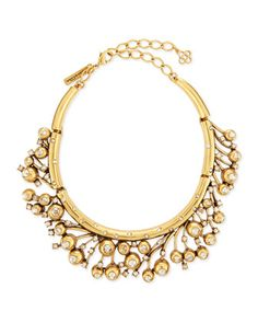 """Ball & Crystal Necklace .  •Oscar de la Renta statement necklace. •24-karat yellow gold-plated pewter. •Faceted Swarovski® crystals. •Lobster clasp; 5"""" chain extender with logo charms. •Approx. 6.5""""L; 1.8"""" drop. GOLD"""