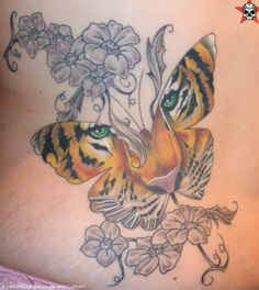 Tattoo Butterfly with Tiger Eyes