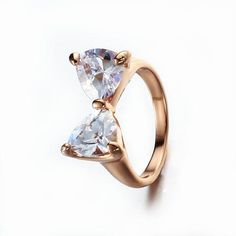 zv Clear White Zircon Bow 18K Plated Gold Ring - 786shop4you