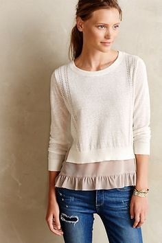 ruffled skirted pullover sweater #anthrofave