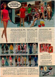 Ward's Exclusive Kitchen Set by Fuchs of West Germany, Talking Barbie, Ken, Christie & Stacey, Twist 'n Turn Francie & Casey, Barbie, Francie & Ken Fashions, Doll Trunk and Hair Fair Wig Set from the Montgomery Ward Christmas Catalog, 1969