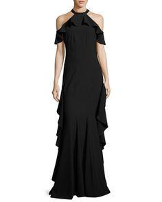 Esmerelda+Cold-Shoulder+Ruffle+Gown,+Black+by+ZAC+Zac+Posen+at+Neiman+Marcus.