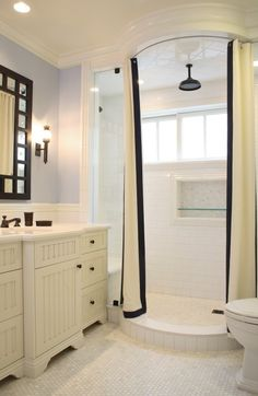 Bathroom...love that shower curtain!