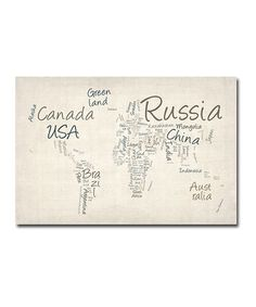 Take a look at this Typography World Map Gallery-Wrapped Canvas by Michael Tompsett on #zulily today!