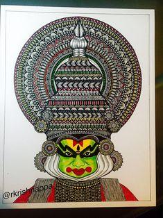 Onam festival Kathakali dancer art print by RashmiArtShop on Etsy Indian Artwork, Indian Folk Art, Indian Art Paintings, Mandala Art Lesson, Mandala Artwork, Madhubani Art, Madhubani Painting, Doodle Art Drawing, Mandala Drawing