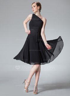 Bridesmaid Dresses - $89.99 - A-Line/Princess One-Shoulder Knee-Length Chiffon Bridesmaid Dress With Ruffle (007013958) http://jjshouse.com/A-Line-Princess-One-Shoulder-Knee-Length-Chiffon-Bridesmaid-Dress-With-Ruffle-007013958-g13958?ver=1