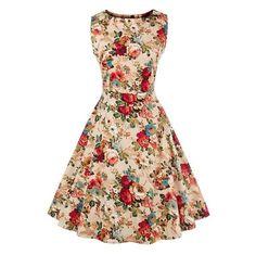 Womens Retro Pinup Tutu Floral Print Dress