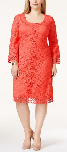 Love the lace detail of this dress! Plus Size Crocheted Lace Dress