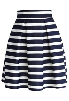 Navy Stripes Pleated Tulip Skirt - Retro, Indie and Unique Fashion. I like full skirts. Pencil skirts are always too tight for work. Blue Pleated Skirt, Tulip Skirt, Stripe Skirt, Dress Skirt, Skirt Ootd, Skater Skirt, Flower Skirt, Waist Skirt, Unique Fashion