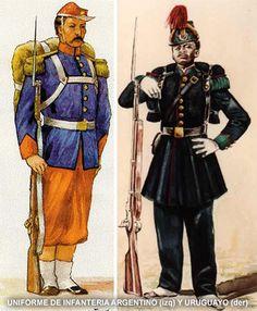 guerra del paraguay - soldados de infanteria del ejército argentino y uruguayo