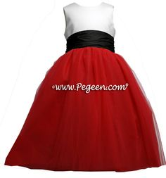 red black and white silk tulle flower girl dresses by Pegeen Couture