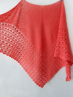 Crochet coral shawl with lace trim, knitted wrap, knitted neck warmer, winter shawl, knit accessory, woman scarf by SanniKnitting on Etsy