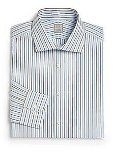 Ike Behar Regular-Fit Striped Dress Shirt - Blue  - Size 1