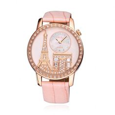 OMG - it's pink, it's the Eiffel Tower, it's perfect!  Luxury Rhinestone-studded Iron Tower Leather Ladies Watch
