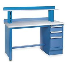 Technical Workbench, 72Wx30Dx35-1/4In H by Lista. $2335.91. Workbench, Leg Type Panel Style, Workbench Assembly Assembled, Material Steel, Work Surface Material Plastic Laminate, Width 72 In., Depth 30 In., Height 35-1/4 In., Edge Type Bullnose, Top Thickness 1-9/16 In., Bright Blue, Finish Powder Coated, Load Rating 165 lb., Includes 3-Drawer Cabinet Pedestal, Bullnose Worksurface, Worksurface Support Rails, Riser Shelf, Stringer, Back Stop Preconfigured Techni...