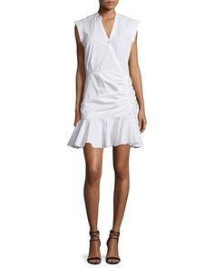 Veronica Beard Fountain Sleeveless Ruched Button-Front Dress, White