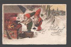 095042 Funny Elf Gnome as Smith Vintage x mas Litho PC | eBay