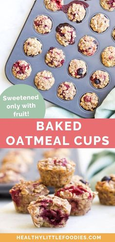 Baked Oatmeal on the go! These mini oatmeal cups are a healthy, handheld breakfast or kid's snack. Great for popping into lunchboxes too. The oatmeal cups have no added sugar and are sweetened only with fruit (banana Oatmeal Bites, Baked Oatmeal Cups, Baked Oats, Office Food, Snacks Saludables, Breakfast Bites, Breakfast Snacks, Breakfast Muffins, Breakfast Casserole