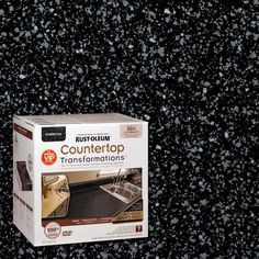 Replace your dirty and dated countertops with the look of granite without the cost using this Rust-Oleum Transformations Charcoal Large Countertop Kit. Countertop Kit, Painting Countertops, Kitchen Countertop Materials, Kitchen Countertops, Spray Paint Countertops, Cement Countertops, Countertop Makeover, Kitchen Cabinetry, Cabinets