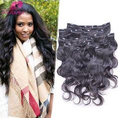Clip In Human Hair Extensions Body Wave African American Clip in Human Hair Extensions Brazilian Virgin Human Hair 7 10pcs Sale