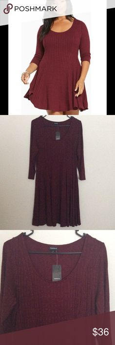 Torrid Ribbed Fluted Skater Dress Brand new with tags. Wine red color. Ships fast! torrid Dresses