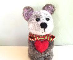 Christmas Bear ornament Bear cub with red heart by Felt4Soul