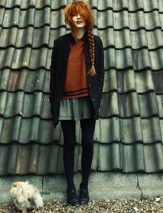 LookBook-H Old Man Coat, Sweater, Skirt - Bunny blues - Nadia Esra