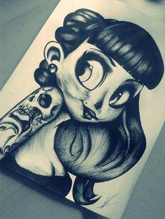 #cute #animated #skull #tattoo #drawing
