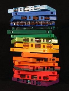 "thedailywhat: "" Matt Whitwell: ""Cassette Rainbow"" Prints available here.] "" I used to have a colored cassette collection. Cartoon Photo, Photo Vintage, I Remember When, My Childhood Memories, Over The Rainbow, My Memory, The Good Old Days, Back In The Day, Vinyls"